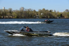 Speed boats Ka-Khem on the river Moscow. Royalty Free Stock Photography