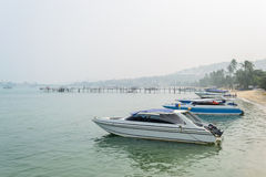 Speed Boats moored on tropical sea in Samui Island,Thailand Royalty Free Stock Photo