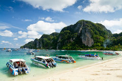 Speed boats on Phi Phi island, Phuket. Royalty Free Stock Image