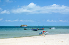 Speed boats on the Sao beach in Phu Quoc, Vietnam Royalty Free Stock Image