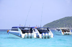 Speed boats on sea Royalty Free Stock Images