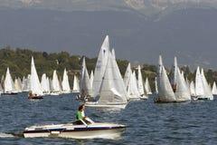 Speed at Bol D'Or regatta race stock image