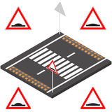 Speed bump in 3D, vector illustration. Speed bump on the road segment. Sleeping police sign on a white background. Flat 3d isometric style, vector illustration Royalty Free Stock Photos