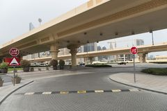 Street speed bumps on the road to Dubai stock photography