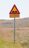 Speed bumps ahead - Iceland. Road sign in Iceland - Speed bumps ahead royalty free stock images