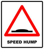 Speed bumps warning of traffic signs. Bump symbol for road in red triangle isolated on white. Vector illustration Royalty Free Stock Photography