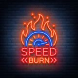 Speed burn logo emblem template vector logo in neon style.  Stock Image