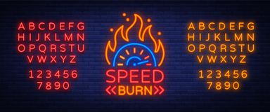 Speed burn logo emblem template vector logo in neon style. A glowing sign on the theme of the races. Neon sign, light. Banner. Editing text neon sign. Neon Royalty Free Stock Photos
