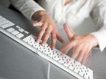 Speed Business Speedy Typing. Secretary Speed Business Speedy Typing In Office on Desk Stock Image