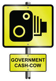 Speed camera. Scandalous government cash cow revenue road speed camera signs Royalty Free Stock Images