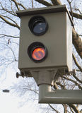 Speed Camera. A modern speed camera permanently keeps an eye on vehicle drivers, catching those unaware of the speed limits Royalty Free Stock Image