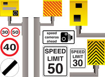 Speed camera. Illustrated speed camera selection with additional limit signs and warnings Royalty Free Stock Images