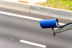 Speed camera monitoring traffic on UK Motorway.  stock photo