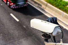 Speed camera monitoring traffic on UK Motorway.  royalty free stock photography