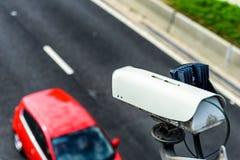 Speed camera monitoring traffic on UK Motorway.  royalty free stock photo