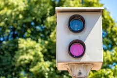 Free Speed Camera On A Countryside Road. Security And Traffic Concept Royalty Free Stock Photos - 107482128