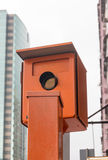Speed Camera Trap. Speed Trap Camera in Orange Box Hong Kong Royalty Free Stock Photography