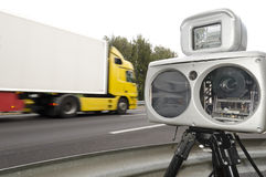 Speed camera and truck Royalty Free Stock Photos
