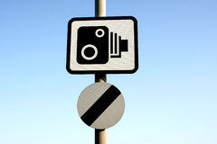 Speed camera warning sign royalty free stock photography