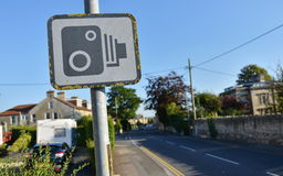 Speed Camera Warning Sign. View of a Speed Camera Warning Sign on a City Street Royalty Free Stock Photos