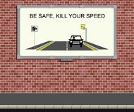 Speed campaign. Advertising board with kill your speed campaign Stock Photo