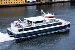 Speed catamaran EKSPRESSEN of Norled Stock Image