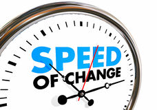 Speed of Change Clock Progress Evolution Time Words. 3d Illustration Royalty Free Stock Photos