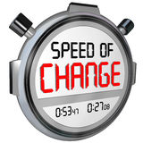 Speed of Change Stopwatch Timer Clock Time to Innovate. Speed of Change words on a timer or stopwatch to illustrate the fast pace of innovation and evolving to Stock Photography