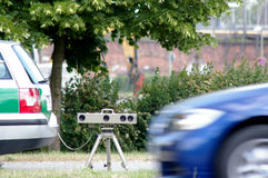 Speed check. Speed Measurement with photoelectric beam in Berlin, Germany stock photos