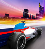 Speed in city. Driving at high speed in empty road - motion blur Royalty Free Stock Images