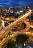 Speed of the city, Shanghai. Traffic tracks during the rush hours in the down area of Shanghai Stock Photo