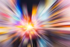 Speed on colorful night road blur zoom royalty free stock photography