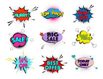 Speed comic pop art sale clouds. Vector elements bright colorful tags sale, special offer, hurry, best offer, low price Stock Photography