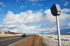Speed control radar camera. At countryside road highway Stock Images