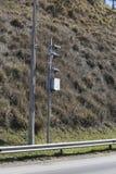 Traffic Speed Camera. Police radar. Speed control radar camera at countryside road highway in Sao Paulo state, Brazil Royalty Free Stock Image