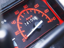 Speed dashboard of motorcycle. Close up black speed dashboard of motorcycle Stock Photography