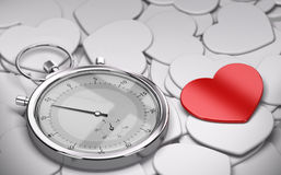 Speed Dating Concept - Love. Speed dating and love concept - Many white hearts shapes plus one red heart and a stopwatch Stock Photo