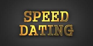 Speed Dating. Gold Text on Dark Background. 3D Render Stock Photos