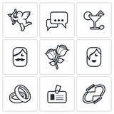 Speed dating Icons. Vector Illustration. Royalty Free Stock Images