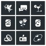 Speed dating Icons. Vector Illustration. Stock Photo