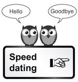 Speed dating. Monochrome comical speed dating sign isolated on white background Stock Photo