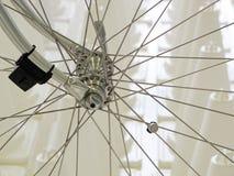 Speed meter on bicycle wheel. Royalty Free Stock Photos