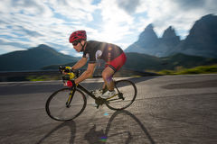 Speed downhill race. Allone on the road again Royalty Free Stock Photos