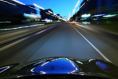 Speed drive. On car at night motion blurred