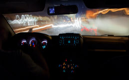 Speed driving in the city at night Royalty Free Stock Photos