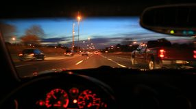 Speed driving on roadway Stock Images