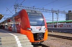Speed electric train Siemens Desiro RUS Lastochka (Moscow - Nizhny Novgorod) at Kursky Railway Station. Stock Photo