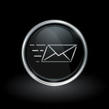 Speed email delivery icon inside round silver and black emblem Stock Photo