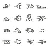 Speed, Fast Moving Icons Collection. Stock Photo