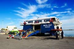 The speed ferry going to Santorini island Stock Photos